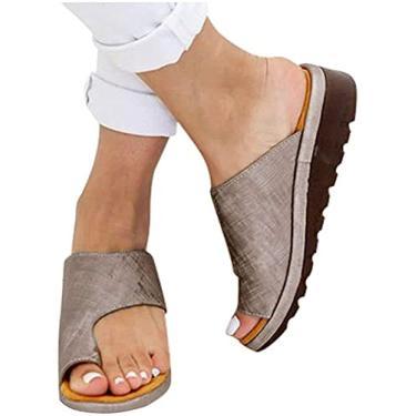 Imagem de AESO Sandálias femininas para o verão, casual, sem cadarço, sapatos para uso ao ar livre, correção, couro, anel, bico casual, suporte de arco e joanete (B-cáqui, 35)