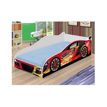 Cama Infantil   Mini Cama Carro Drift Colchão 150x70cm - Vermelho   Branco  - RPM Móveis 0487e8a696d4c