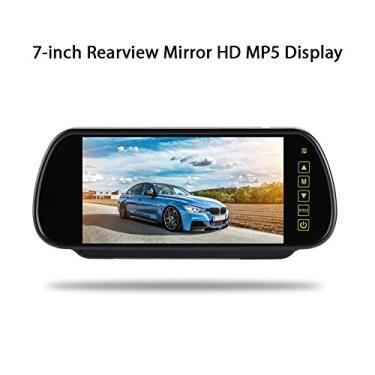 BigFamily Espelho retrovisor de 7 polegadas para carro Hd Display LCD Touch Button DVD/Tv/MTV tela visor retrovisor - Preto