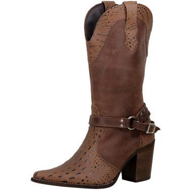 Bota Texana Pierrô bico fino cano e salto alto couro estampa croco e liso cor amêndoa  feminino