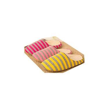 ajzdnzvr Pantufas Masculinas e Femininas Chinelos Spa Algodão Listrados Antiderrapante Casual Casa Pantufa Hotel Sapatos Fechados com Dedos, 1 Par (Rosa)