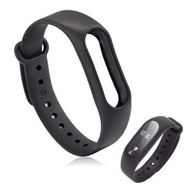 Pulseira Lisa Para Relógio Inteligente Mi Band 2 Xiaomi Smartwatch Silicone Alça Ajustável Preta