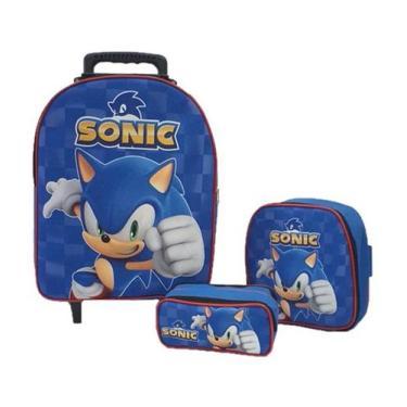 Imagem de Kit Mochila Infantil Sonic Azul - Outras Marcas