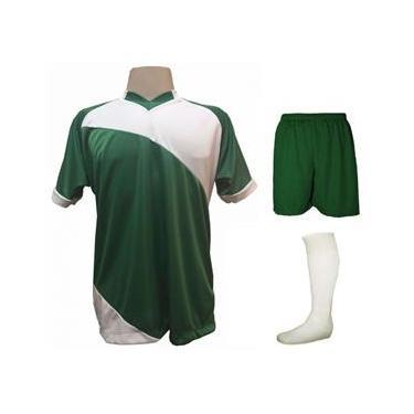 Uniforme Esportivo com 20 camisas modelo Bélgica  + 20 calções modelo Madrid Verde + 20 pares de meiões Branco