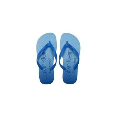 Chinelo Calvin Klein Lettering - Azul