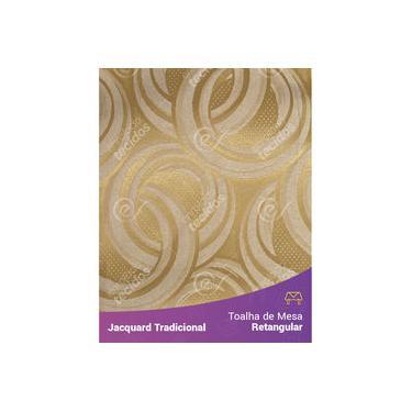 Imagem de Toalha De Mesa Retangular Em Tecido Jacquard Dourado Argolas Tradicional