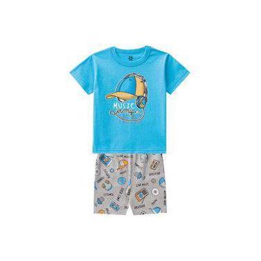Pijama Infantil Menino Camiseta E Bermuda Estampa Brilha No Escuro Azul-2