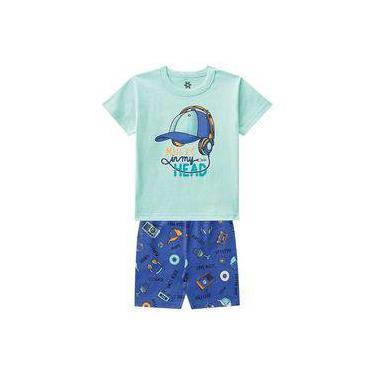 Pijama Infantil Menino Camiseta E Bermuda Estampa Brilha No Escuro Verde-2
