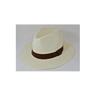 Chapéu Estilo Panamá Branco - Aba Média - Faixa Marrom ad4e83d6fd4