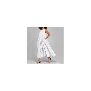 Imagem de Vestido feminino sem mangas plissado vestido robes Longue casual cor sólida O pescoço vestidos longos plus size Branco M