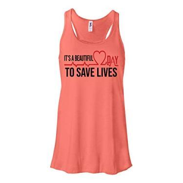 Regata It's A Beautiful Day To Save Lives Grey's Anatomy para mulheres, adolescentes e meninas, Coral, XXL