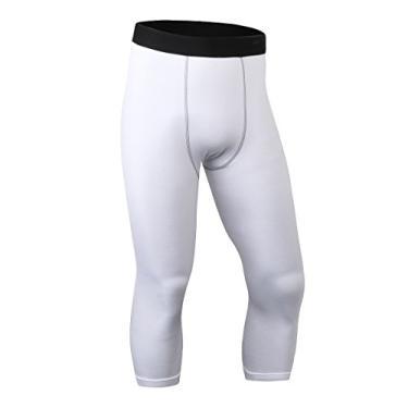 Imagem de ToXodo Calça legging masculina capri 3/4 de compressão esportiva para academia, corrida, secagem rápida, Branco, P