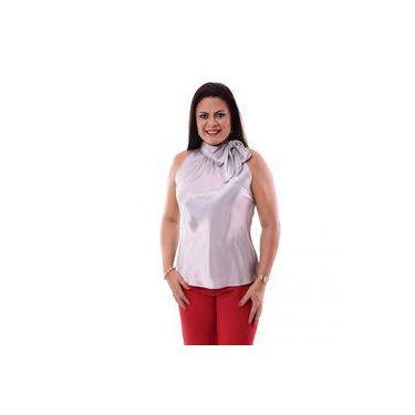 Blusa Feminina Gola Alta Com Laço Em Cetim - Vinho d3e74a4981a29