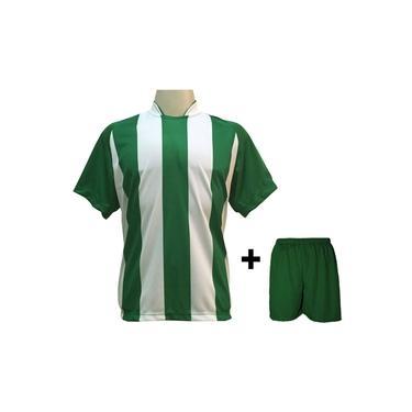 Uniforme Esportivo com 20 camisas modelo Milan Verde/Branco + 20 calções modelo Madrid Verde +