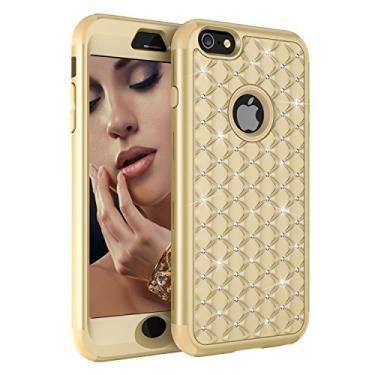 Capa para iPhone 6S Plus, capa para iPhone 6 Plus, Dooge cravejada de diamantes brilhantes à prova de choque híbrida Armor Defender de corpo inteiro robusto de alto impacto capa protetora para iPhone 6S Plus/6 Plus - Dourado