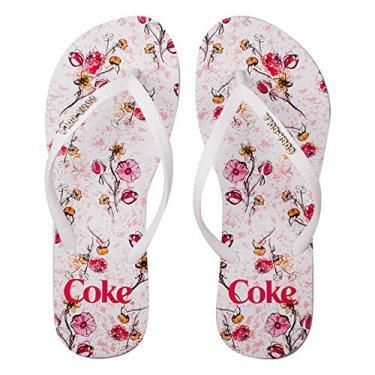 Sandálias Coca-Cola, Floral Connection, Branco/Branco, Feminino, 34