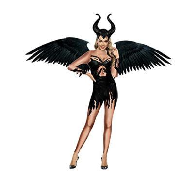 Imagem de Fantasia Zuunky Compatível com Macacão Fantasia 3d Malevola Halloween Cosplay Feminina (MALEVOLA, P)