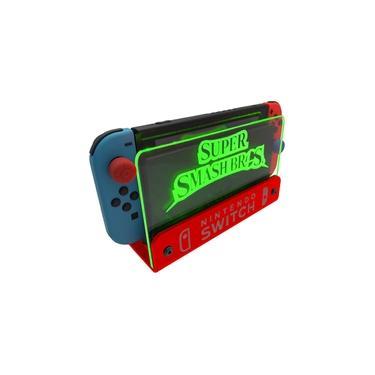 Suporte Bancada/Parede Nintendo Switch Iluminado - Smash Bros - Base Vermelho LED Verde