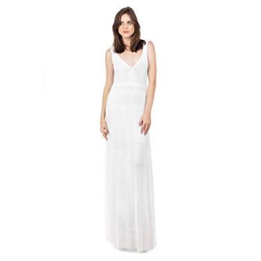 Imagem de Vestido Longo de Tricô Tricot Bella Store Decote V Rodado Feminino Cor:Branco;Tamanho:Único;Gênero:Feminino