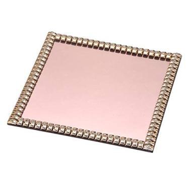 Bandeja Espelhada Decorativa Quadrada Rosé com Strass 20x20cm