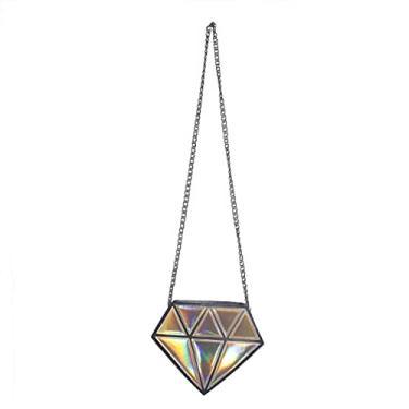 Imagem de Mobestech Moda Pequena Bolsa para As Mulheres Forma de Diamante Ombro Saco Crossbody Couro PU Cadeia Saco Das Mulheres Saco Da Noite (Dourado)