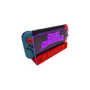 Suporte Bancada/Parede Nintendo Switch Iluminado - Smash Bros - Base Vermelho LED Rosa