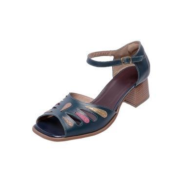 Sandália Pierrô bico quadrado salto baixo couro cor azul marinho