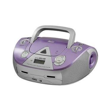 Boombox USB/MP3/CD Lilás/Prata 4W Philco Bivolt PB126L