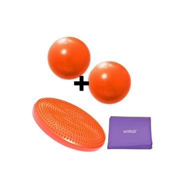 Disco Inflavel Equilibrio + 2 Overball para Pilates 25cm Laranja+ Faixa Elastica Media