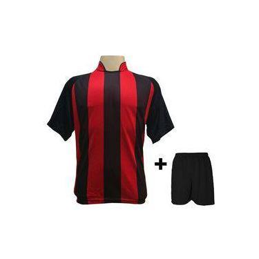 Uniforme Esportivo Com 12 Camisas Modelo Milan Preto vermelho + 12 Calções  Modelo Madrid Preto ed7690b163620
