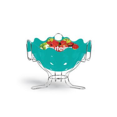 Fruteira de Mesa Cromo Colors Azul Turquesa