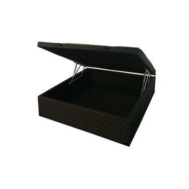 Cama box baú casal 1,38 x 1,88 com 58cm de altura total - 40cm de profundidade (A maior do Mercado) no Tecido bordado Preto