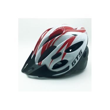 Capacete Com Sinalizador Led Ciclismo Bike Vermelho Branco