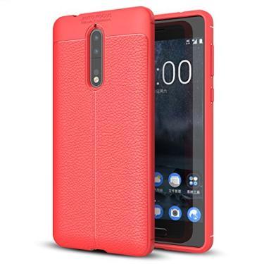 Capa para Nokia 8, capa de couro sintético para Nokia 8, capa macia de TPU antiderrapante para Nokia 8 de 5,3 polegadas
