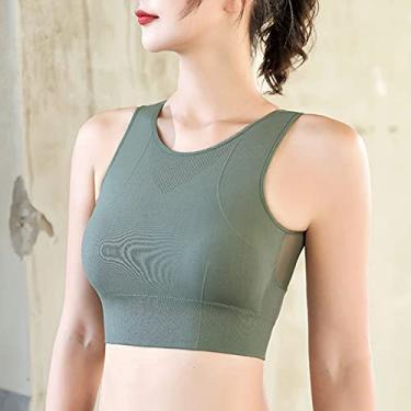 Imagem de Acolchoado sem fio, Funien Sutiã esportivo feminino push-up à prova de choque com fio acolchoado e acolchoado de costura colete de secagem rápida Roupa interior de ioga e fitness