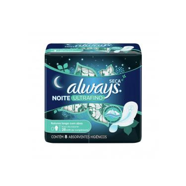 Absorvente Always Noite Ultrafino Malha Seca com Abas c/8