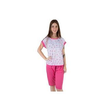 Pijama Feminino de Malha Pescador Estampado Rosa