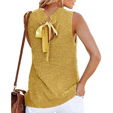 Túnica feminina de verão, sem mangas, blusa, blusa, regata, fecho nas costas, casual, de crochê, Amarelo, S