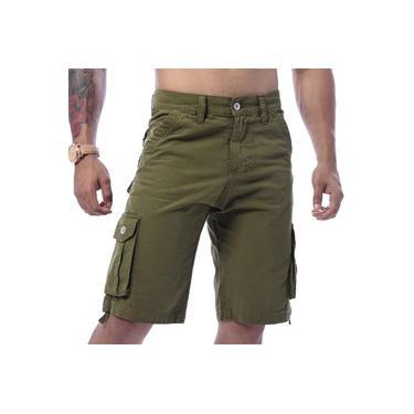 Bermuda Masculino Cargo Verde Lisa Premium Com 6 Bolsos