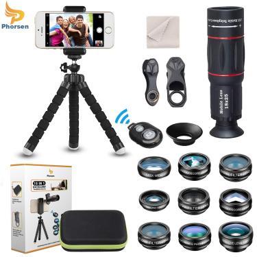 Phorsen 15 em 1 universal multifunções kit de lente da câmera do telefone + tripé remoto obturador