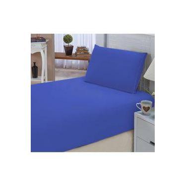 dbcdacfcd1 Jogo De Lençol Solteiro Padrão Liso Pati 02 Peças Tecido Microfibra - Azul  Royal