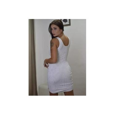 Vestido Miss Misses Franzido vazado Branco/Prata