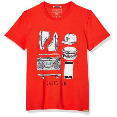 Camiseta Estampada Colcci Fun, Meninos, Laranja Red Orange, 12
