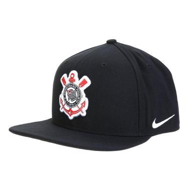 Boné Nike Corinthians Pro Aba Reta BV4278-011, Cor: Preto/Branco, Tamanho: U