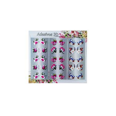 Imagem de 240 Adesivos Unha Semi Artesanal 3d Flores Peliculas M-925