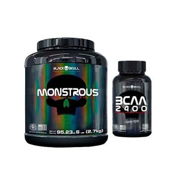 Monstrous Hipercalórico 2.7 Kg + Bcaa 100 Caps - Black Skull Morango