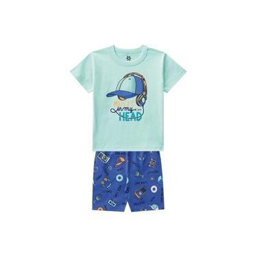 Pijama Infantil Menino Camiseta E Bermuda Estampa Brilha No Escuro Verde-3