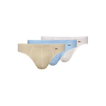 Kit Com 3 Cuecas Slip Zorba Cotton Confort Azul / Bege / Branco
