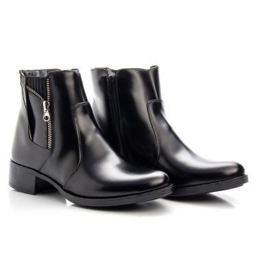 Bota Botinha Coturno Feminino Ankle Boot Em Couro Mod 1008
