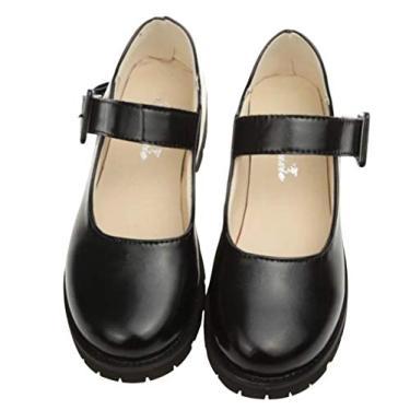 Sapatos Oxford femininos largos para meninas, salto baixo, uniforme social, sapatos para cosplay, Preto, 7